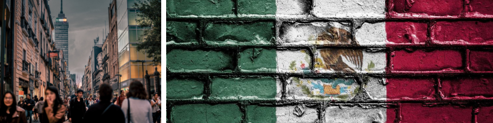 Mexico city and flag